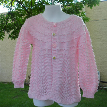 Hand Knit Baby Sweater Lace Vintage Pattern by toppytoppy on Etsy
