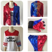 DCCKHY9 2016 Halloween Costumes for women Suicide Squad Harley Quinn cosplay  harley quinn costumes shirt  jacket shorts  anime costumes