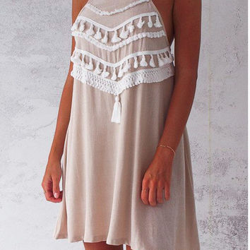 Summer Women Boho Tassel Dress Short  Sexy Lace