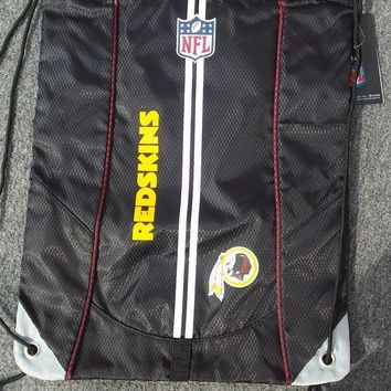 Washington Redskins Back Pack Thick Material Black Draw String Sling Backpack