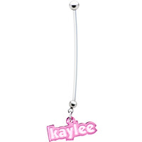 Custom Pink Personalize Pregnant Belly Ring   Body Candy Body Jewelry