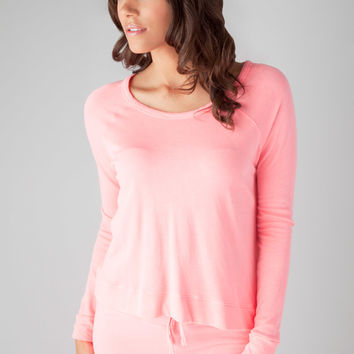SUNDRY Crop Pullover in Neon Pink