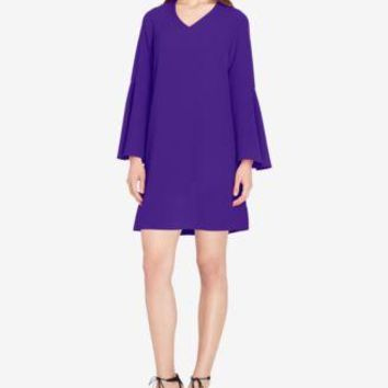 $128 New TAHARI ASL Women's Bell Sleeve Violet Purple V-Neck Tunic Dress Size 18
