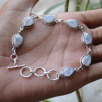 Rainbow Moonstone Sterling Silver Bracelet,Gift Bracelet Jewelry,Pear Shape Moonstone,Gemstone Silver Bracelet,Adjustable Bracelet Jewelry