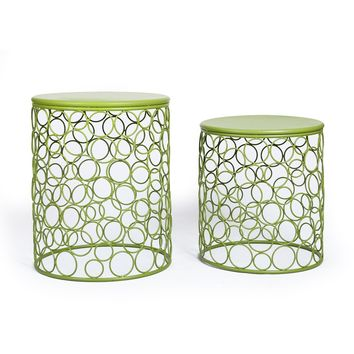 Home Garden Accents Circle Wired Round Iron Metal Nesting Stool Side End Table Plant Stand Set Of 2 [CH0148]