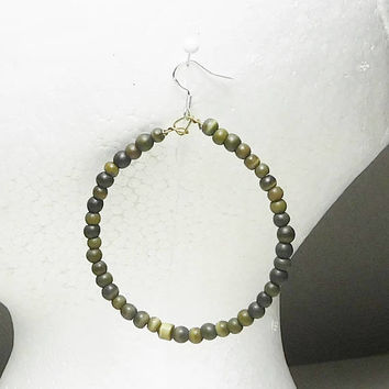 Large Beaded Hoop Earrings Army Small Green Stone Beads Lightweight 925 Sterling Silver Overlay Wires Goth Steampunk Bohemian Hippie Gypsy