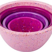 Zak Designs Set of 4 Confetti Mixing Bowl Set, Assorted Pink