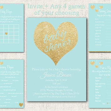 Blue Gold Baby Shower Invitation 5 piece party pack, baby shower games blue gold party kit baby shower party set instant download digital