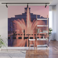 City fountain at the Sunset Wall Mural by albert12001