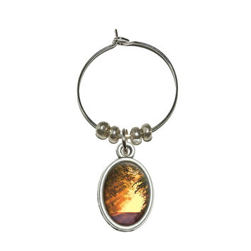 Road Less Traveled - Forest Sunset Twilight Wine Glass Charm