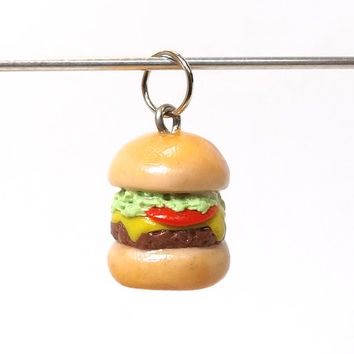 Polymer Clay Burger Charm Pendant Necklace