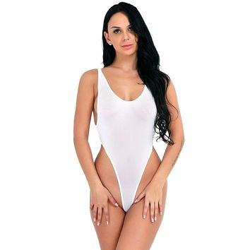 White Sheer Extreme High Thigh Cut Thong One Piece Swimsuit Swimwear (Black also available)