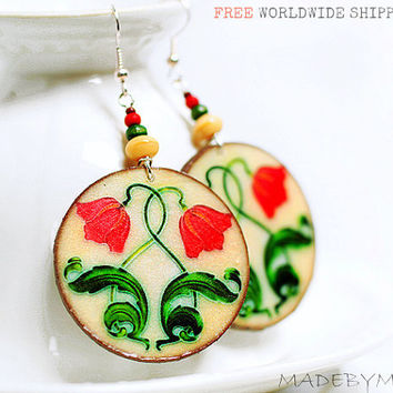 Spring Tulips Earrings Free Shipping Round decoupage earrings Art Nouveau Ornament  ,  gift for her under 25