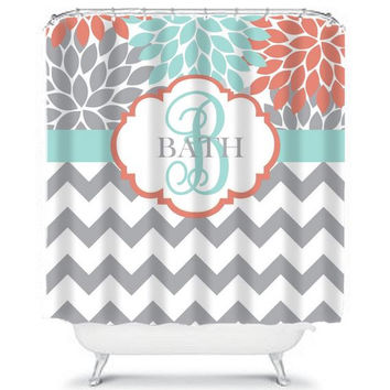 Flower Burst SHOWER CURTAIN Chevron Coral Aqua Gray Custom MONOGRAM Personalized Bathroom Decor Bath Beach Towel Plush Bath Mat Made in Usa
