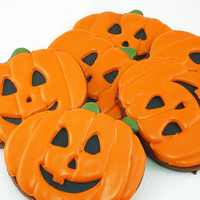 Decorated Cookies - Halloween - Jack O Lantern - 1 dozen