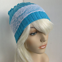 Stretchy Sweater Lace Headband Dreadband Winter Hat or Upcycled Cowl Neckwarmer Circle Infinity Scarf Teal Blue Women's Eco Chic Style