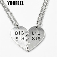New Fashion Big Sis Lil Sis Big Sister Little Sister BFF Best Friends Forever Vintage Silver Broken Heart Necklace Sister Gift