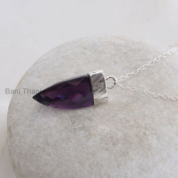 Handmade Point Pendant Jewelry, Purple Amethyst Quartz Point Shape 15x25mm 925 Sterling Silver Pendant Necklace #1705