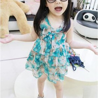 Summer Cute Ball Gown Sleeveless Butterfly Girls Dress