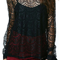 ROMWE Asymmetric Hollowed-out Lace Crochet Black Blouse
