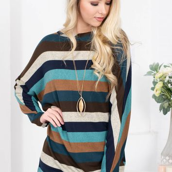Ocean Blue Striped Tunic Top