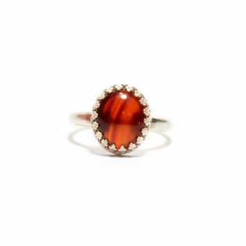 Deep Red Sardonyx Ring // Handmade sterling silver red gemstone ring, filigree bezel jewelry, red agate ring, red banded agate