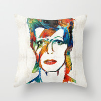 David Bowie Art Tribute by Sharon Cummings Throw Pillow by Sharon Cummings