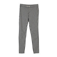 Black Checkered Mid Rise Skinny Jeans