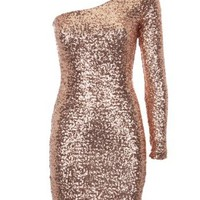 Lipsy One Shoulder Sequin Dress