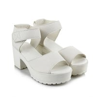 White Strap Chunky Heels