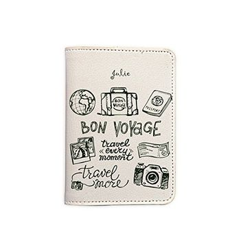 Bon Voyage [Name Customized] Passport Holder - Leather Passport Cover - Passport Wallet - Travel Accessory Gift - Travel Wallet for Women and Men_LOKISHOP