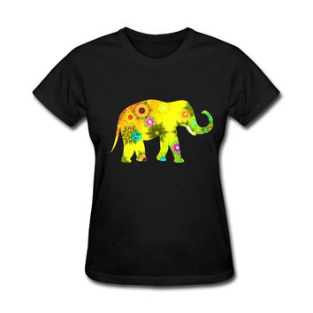 Women Colorful Elephant Natural Cotton Classical Round Neck Shirts Lady  Short Sleeve Printing T-Shirt