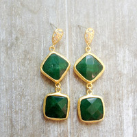 valentine day  long earrings emerald forest  jade green stones  gold  large bold simple gemstone earrings israel