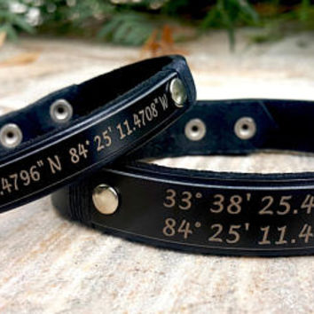 Couple Coordinates Bracelet, Custom GPS Engraved Leather Bracelet, Couple Jewelry, Gift for Couple, Latitude Longitude, Christmas Gift Ideas