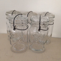 Ball Glass Mason Jar Eclipse Wide Mouth Quart Canning Jar with Wire Closure Wedding Decor