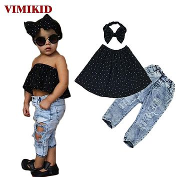 Summer 2017 Kids Fashion Girls Clothing Sets 3 pcs Black Blouse Top & hole Casual Jeans&Hair band Girls Clothes Set