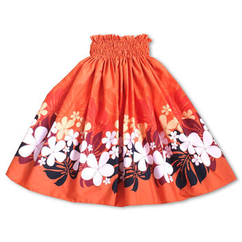 groovy orange single hawaiian pa'u hula skirt