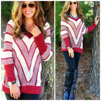 Chevron And On Burgundy Knit Sweater