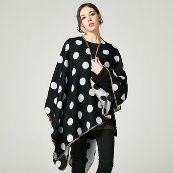 Polka Dot Print Thick Cape Blanket
