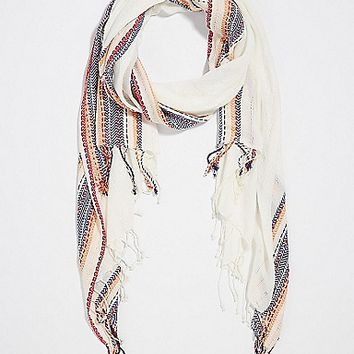 scarf with striped borders and shimmering sequins | maurices