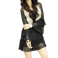 Ruffle Collar Bell Sleeve Black Lace Dress XS for Lady