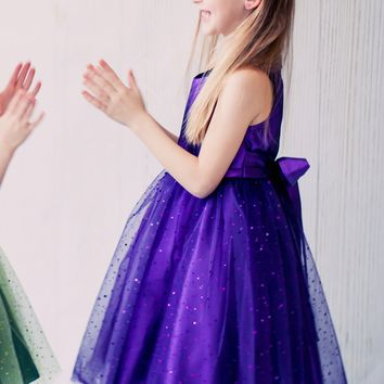 Purple Sparkle Tulle & Satin Formal Dress w Pleated & Pinched Bodice (Girls 2T to Size 12)