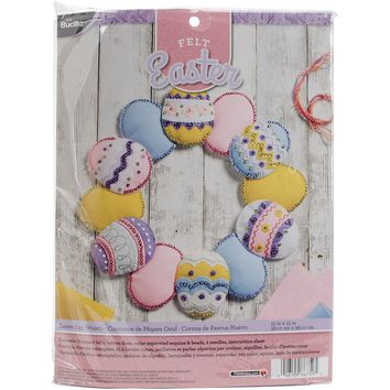 "Easter Eggs Bucilla Felt Wreath Applique Kit 15"" Round"