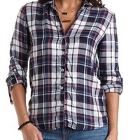 High-Low Plaid Button-Up Top by Charlotte Russe