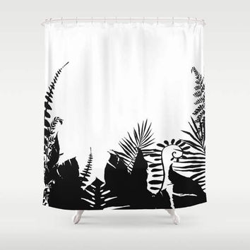 Black and White Shower Curtain - foliage - silhouette shadow tropical leaves -  art for the bathroom -  exotic, foliage
