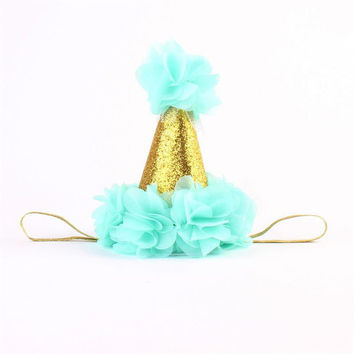 Aqua and Gold Birthday Baby Hat