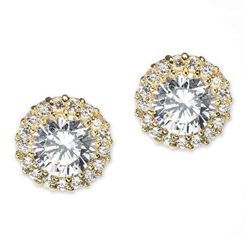 CZ by Kenneth Jay Lane - Classic Pavé Round Pierced Gold Plated Stud Earring