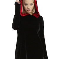 Black Velvet Red Lined Hood Long Hoodie Dress