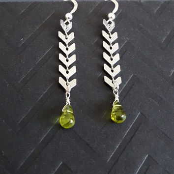 Peridot Stone Earrings, Chevron Earrings, Sterling Silver Peridot Earrings, Gold Peridot Earrings, PERIDOT JEWELRY, GIFT, Long Earrings