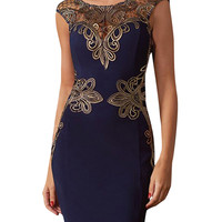 Cut-Out Lace Bodycon Midi Dress